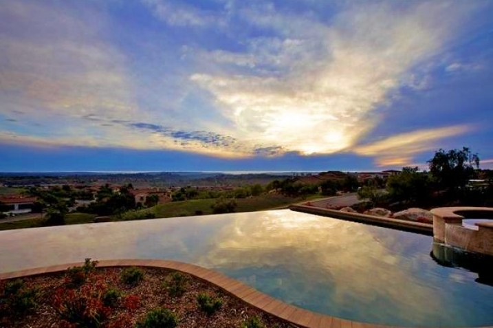 Santaluz Real Estate pool sunset